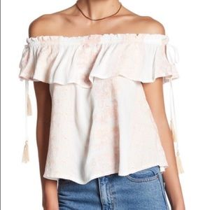 ASTR The Label Embroidered Off The Shoulder Top